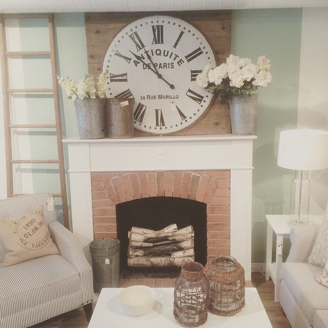 Good Morning Beautiful Check Out That Clock Large Scale And Vintage Simplicity Make For A Strikin Over Fireplace Decor Fireplace Mantle Decor Fireplace Decor