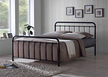 New Traditional Hospital Style 4ft6 Double Black Metal Bed Frame