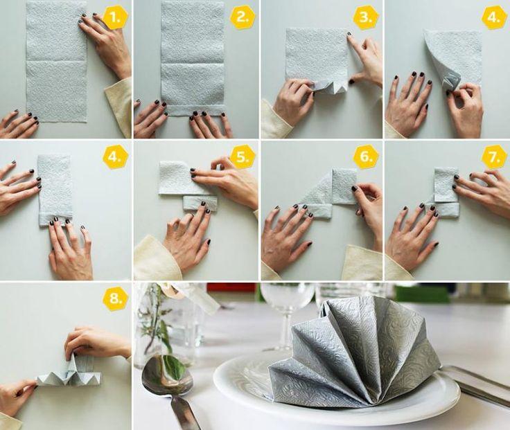 die besten 25 servietten falten f cher ideen auf. Black Bedroom Furniture Sets. Home Design Ideas