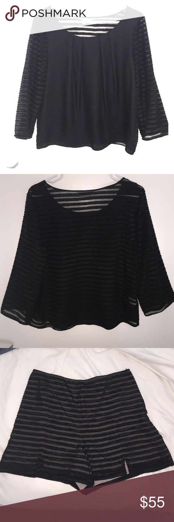 BCBGeneration Two Piece outfit Black striped top size L and black stripped shorts size 8 BCBGeneration Other