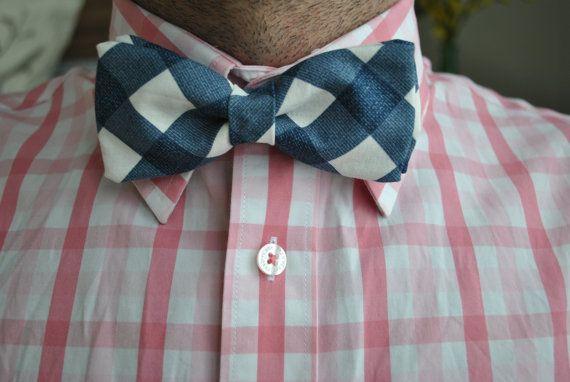 Men's Blue & White Plaid Bow tie