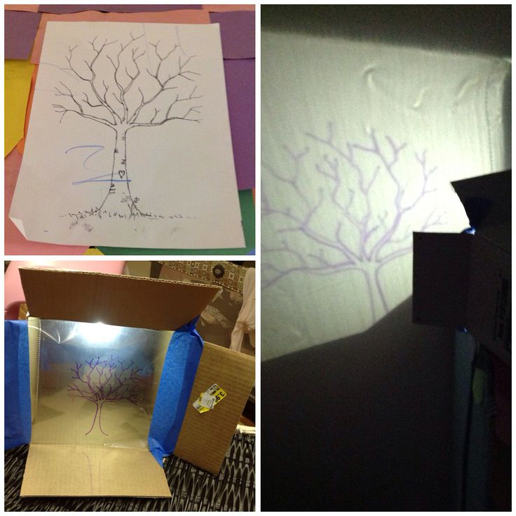 DIY Projector.                                               1. Print image for mural                               2. Trace image onto plastic sheet.               3. Using a box and the flashlight of a smart phone. Tape image onto opening of the box and turn the lights off!