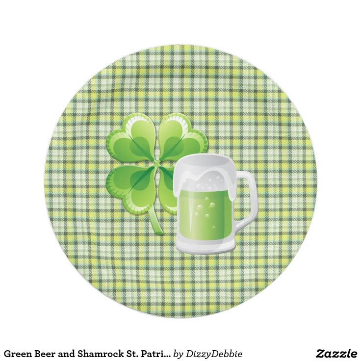 Green Beer and Shamrock St. Patricks Paper Plate