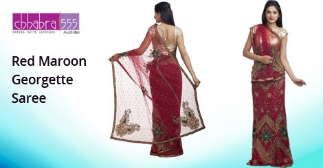 Addition of over 25 new designs every day, select Red Maroon Georgette Saree in @ $137.95 AUD from Chhabra555 that will give you stunning look on any occasion in Australia.