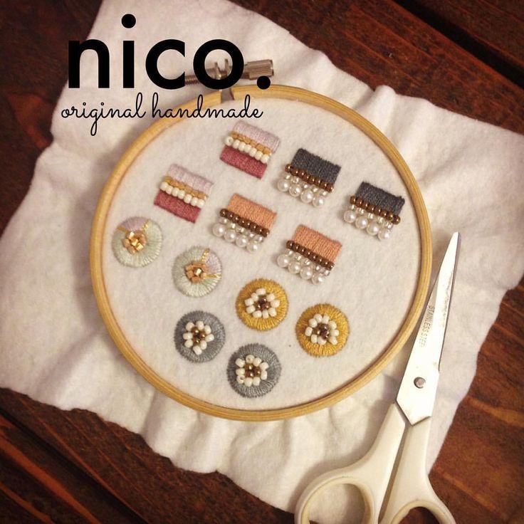 いいね!61件、コメント10件 ― emi okudaさん(@nico.originalhandmade)のInstagramアカウント: 「刺繍ピアス、こつこつ作っています^ ^ #handmade #刺繍 #刺繍ピアス #nico.」