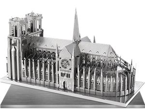The Metal Earth ICONX Notre Dame models are amazingly detailed etched models that are fun and satisfying to assemble. These DIY Metal Earth models start out ICONIX are 6 inch sheets of steel and finish as amazing 3D models.