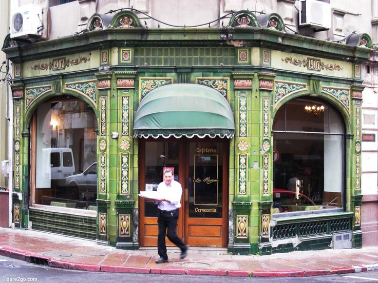 """#Montevideo used to be a rich and influential city. Strolling through the """"ciudad viecha"""" you can still find buildings reminiscing of gold old times long gone, like this beautiful cafe house facade all covered in hand-crafted #ArtNouveau tiles."""