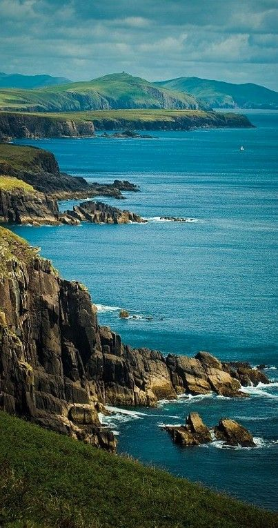 Stunning Seascape, Dingle Peninsula, Ireland. The Dingle Peninsula is the northernmost of the major peninsulae in County Kerry. It ends beyond the town of Dingle at Dunmore Head, the westernmost point of Ireland and arguably Europe.