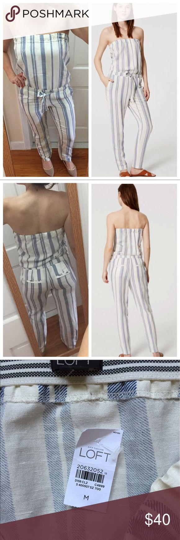 LOFT White & Blue Striped Jumpsuit NWT! Orig $69.50. A breezy nautical jumpsuit that's perfect for summer! Ties at the waist, flattering back pockets, and thick band around the chest that won't pinch or fall down. I'm 5'6 for reference. Happy to answer any questions! Price firm unless bundled! LOFT Pants Jumpsuits & Rompers
