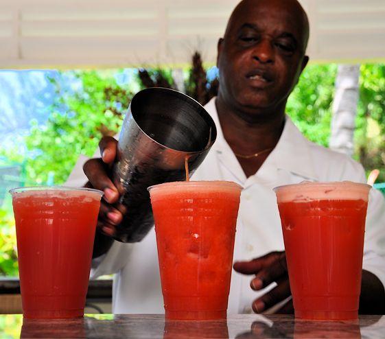 The Bahama Mama Cocktail    1¼ oz. Meyer's Rum  ½ oz. Kahlua  ½ oz. Nassau Royale or any vanilla-flavored rum  2½ oz. orange juice  2½ oz. pineapple juice  1 oz. grenadine  1 cup ice  Orange wedges & strawberries for garnish.