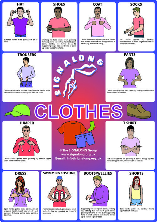 Clothes Signs - BSL (British Sign Language)