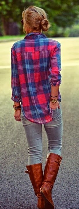 Simple Check Shirt With Skinny Jeans and Long Boots
