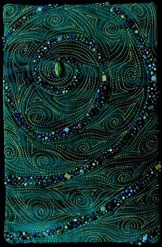 Celtic Spiral bead embroidery and machine stitching on fabric by Larkin Jean Van Horn