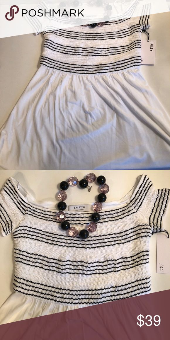 BAILEY 44 Striped, Smocked Top Small NWT The softest Pima cotton ever! Black stripes in smocking on bodice with flowy bottom of shirt. NWT Bailey 44 Tops Blouses