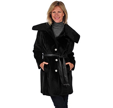 Look the fashionable part all winter long with this gorgeous trench coat with piping belt from the Regal Faux Furs Collection.