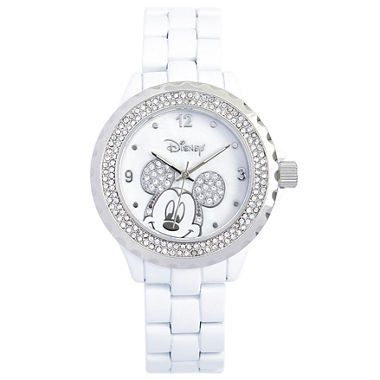 Now available on Our Store:  Disney White Enam...    Check it out here! http://www.musthaveshoesandmore.com/products/disney-white-enamel-crystal-accent-mickey-watch?utm_campaign=social_autopilot&utm_source=pin&utm_medium=pin