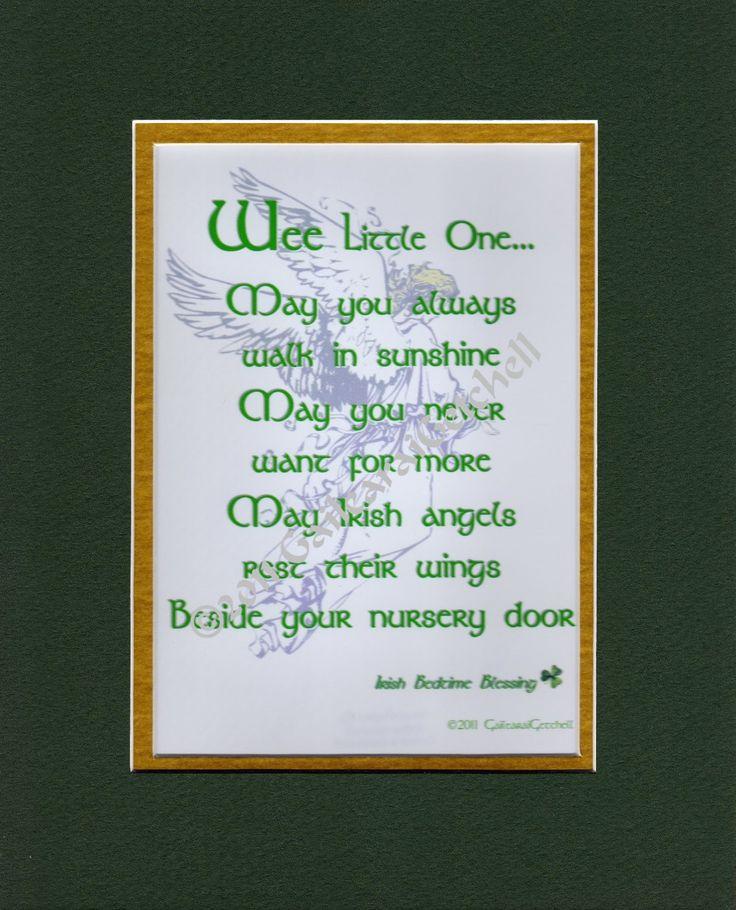 "Infant Bedtime Blessing Irish Celtic Print Plaque 8"" x 10"" Irish Baby Blessing Prayer Choice of Mat Colour/Style. $12.00, via Etsy."