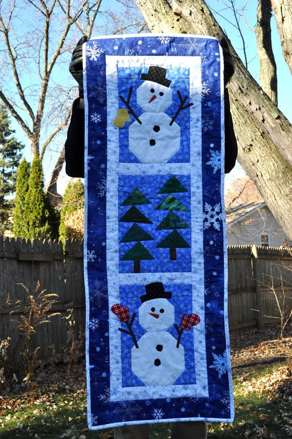 Quilted Snowman Wall Hanging or Table Runner by ColorwiseQuilts