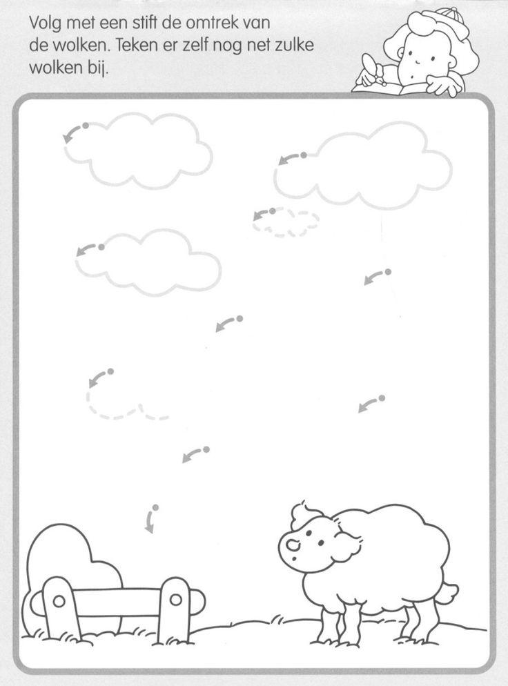 * Volg de lijn en maak de wolken...