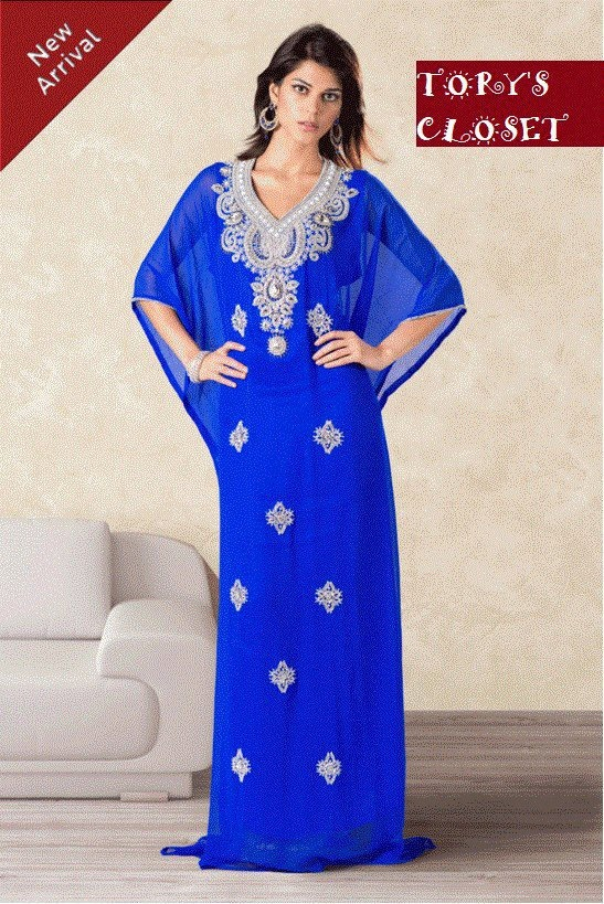 Very Fancy dubai Kaftan/Abaya/jalabiya ladies maxi dress(same on model, blue). $149.99, via Etsy.