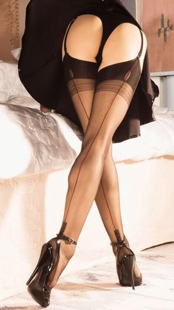 Women's sheer strip pantyhose suspender garter belts stockings sexy thigh
