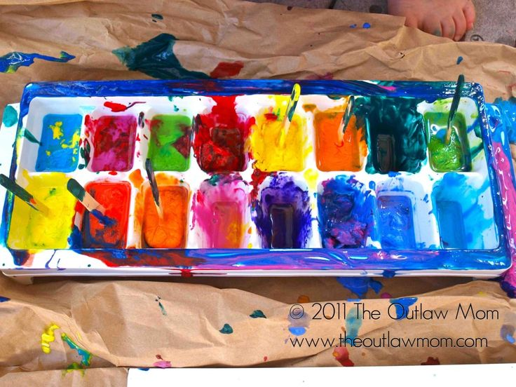 ice cube painting messy but looks fun