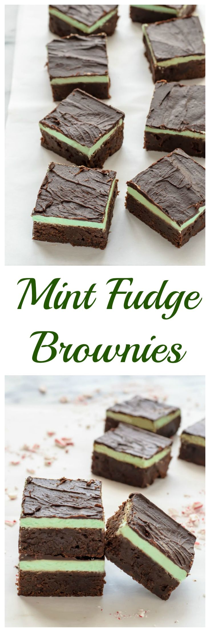 The BEST Mint Fudge Brownies. Rich and fudgy with a creamy peppermint layer that tastes just like an Andes mint. A must bake holiday recipe!