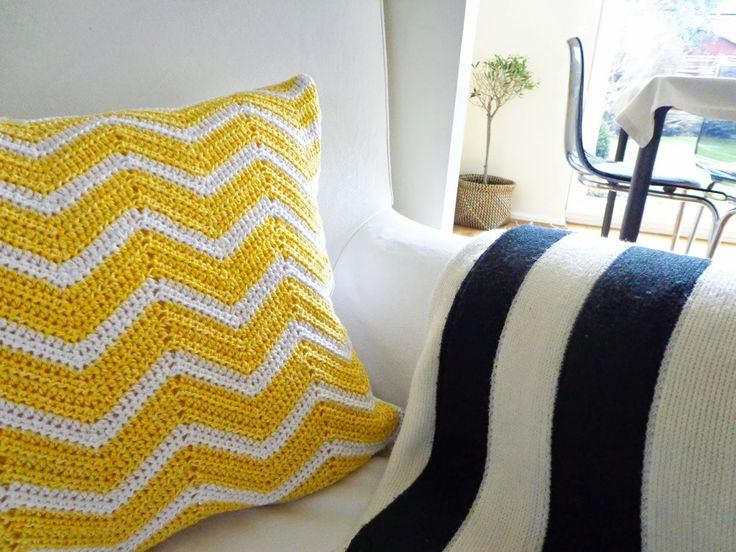 Yellow chevron cushion