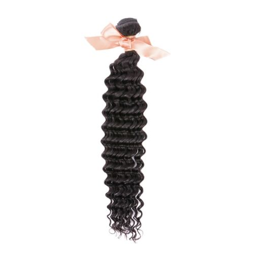 Malaysian Virgin Remy Hair Extensions Deep Wave Hair Bundle 12 Inch To 26 Inch Natural Black 100g