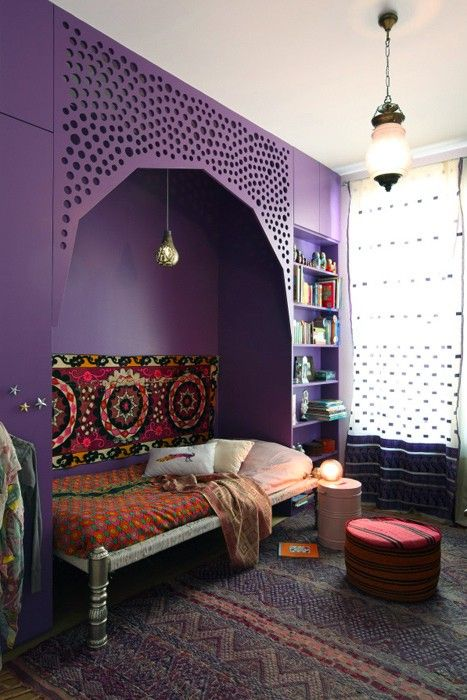Beautiful Bohemian interior and love the color purple (wondering if I could do this as free standing not a built in?)