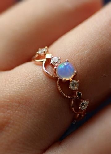 affordable christmas gift for her/ art deco rose gold opal ring