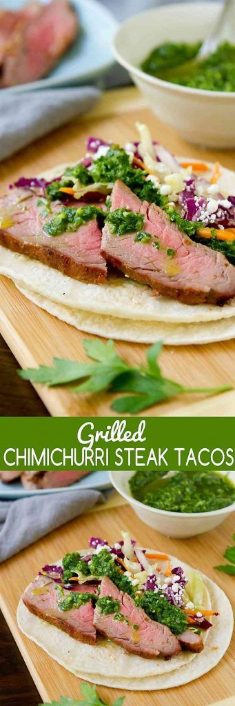 Taco Tuesday gets a whole new look with these Grilled Chimichurri Steak Tacos. The flavor of the sauce is to die for! 399 calories and 10 Weight Watchers SmartPoints