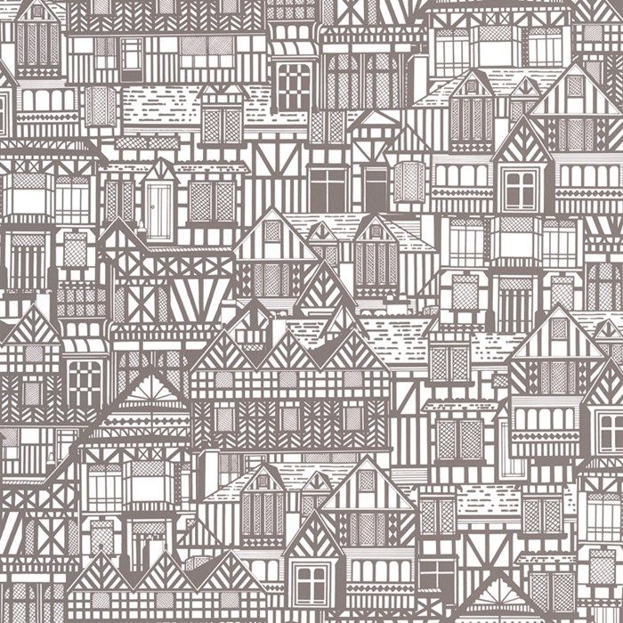 Tudor Houses Black / White Wallpaper by Graham and Brown #papierpeint #LePapierPeint