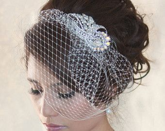 Wedding Birdcage Veil with Crystal rhinestone brooch VI0101 - ready to ship by wearableartz. Explore more products on http://wearableartz.etsy.com