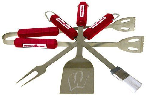 "Wisconsin Badgers-4 Pc Bbq Set SKU-PAS1065269 by BSI. $94.48. Tailgating never looked so good! This stainless steel BBQ set is a perfect way of showing your team pride on Game Day. Each utensil is printed with your favorite College team's artwork. The set includes tongs, brush, fork and a laser etched spatula."""" Sold Individually Please note: If there is a color/size/type option, the option closest to the image will be shipped (Or you may receive a random color/size/type)."