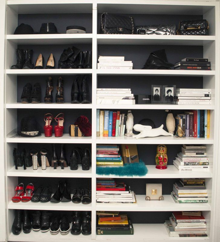 Inside Fashion Unfiltered's  founder and EIC Katharine Zarrella's closet: hybrid shoe shelf and bookcase | coveteur.com
