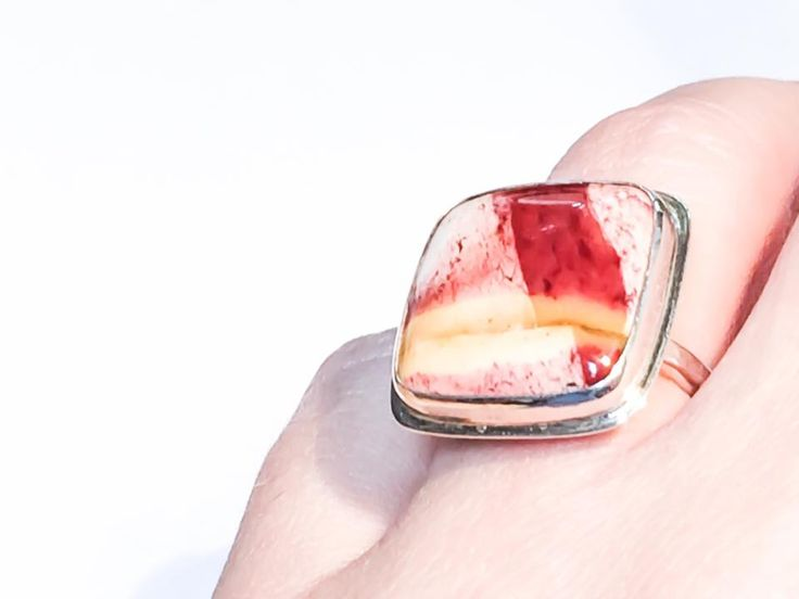 $82 Only one available. Something Luxurious Imperial Red Jasper Ring. A highly polished cushion cut stone set in fine and sterling silver bezel with textured, thick ring band will fit US size 7-8. FREE SHIPPING in U.S.A. Don't miss this sale. Find it here before it is gone for good: https://www.etsy.com/listing/216495888/royal-imperial-red-jasper-ring-large