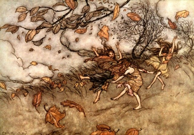 figure 6. There is almost nothing that has such a keen sense of fun as a fallen leaf. Arthur Rackham illustrations for Peter Pan in Kensington Gardens