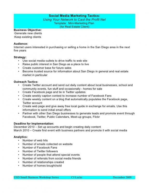 Social Media Proposal Template Sample Resume Marketing Plan