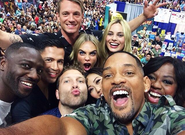 Suicide Squad: Adewale Akinnuoye-Agbaje, Jay Hernandez, Joel Kinnaman, Jai Courtney, Cara Delevingne, Margot Robbie, Karen Fukuhara, Will Smith, and Viola Davis at San Diego Comic Con 2016 (SDCC) (photo via Suicide Squad's Instagram)