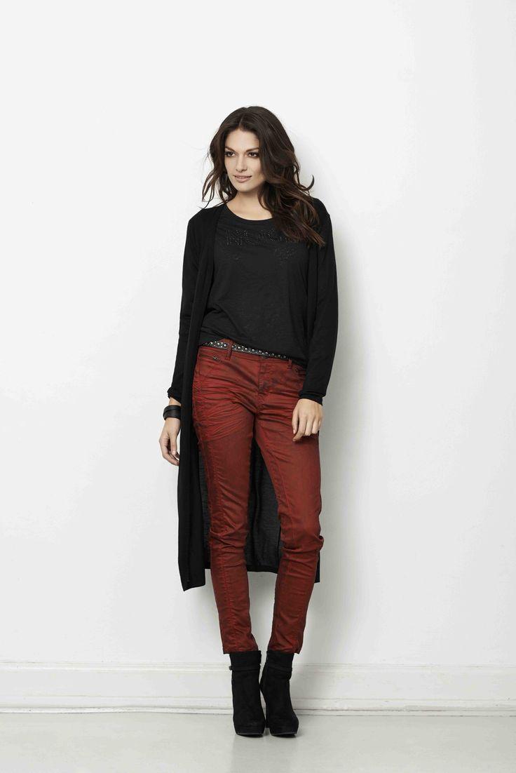 soyaconcept - knit - cardigan - blouse - belt - jeans - pants - red
