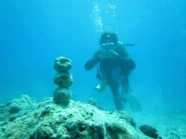Diver Uses Superpowers To Knock Over Rock [gif]