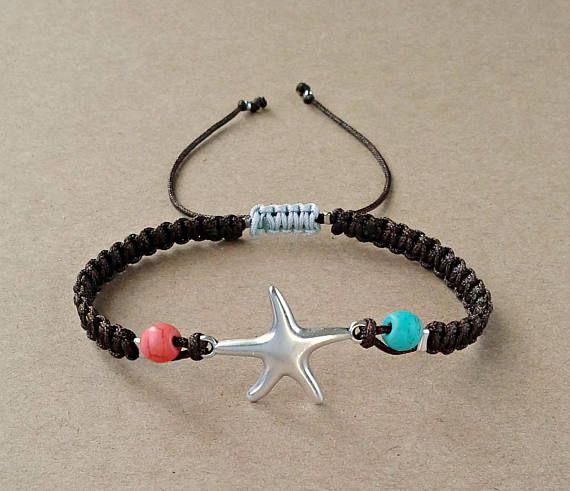 Starfish Bracelet, Beach Bracelet, Howlite Beads, Macrame Bracelet, Summer Gift, Navy Bracelet, Adjustable Bracelet, Brown Satin Cord, Gift