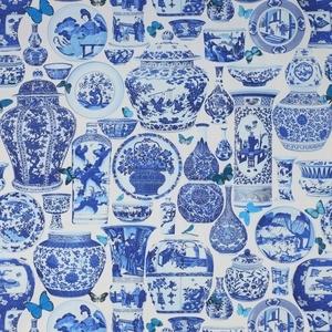 "MANUEL CANOVAS - ""JARDIN BLEU"" TOILE FABRIC INDIGO: Jardine Bleu, Illustrations Art, China Patterns, Gingers Jars, Porcelain Prints, Manuel Canova, Fabrics, Patterns Illustrations, Blue And White"