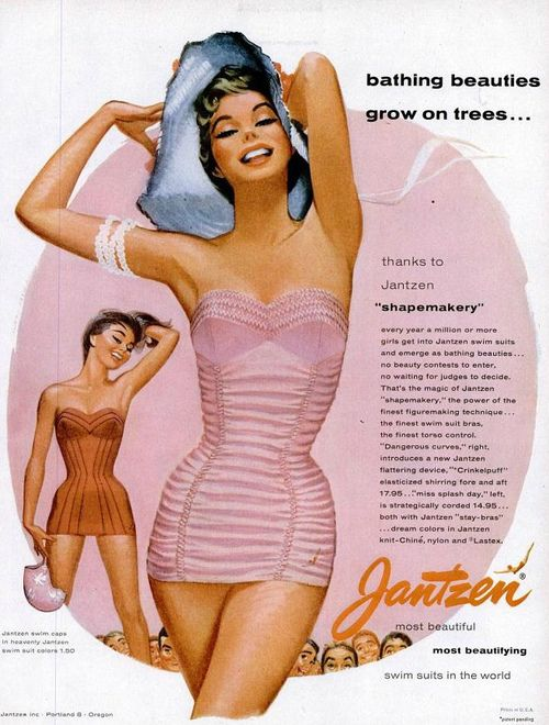 A Jantzen swimwear advertisement illustrated by Pete Hawley, 1955.