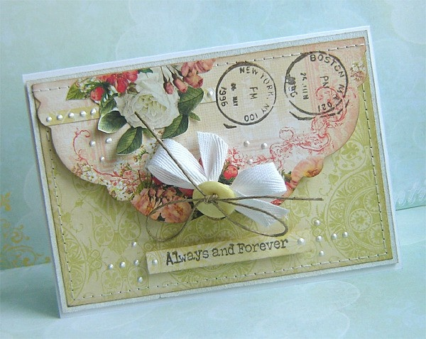 Lovely Envelope Style Card...Two Peas in a Bucket.