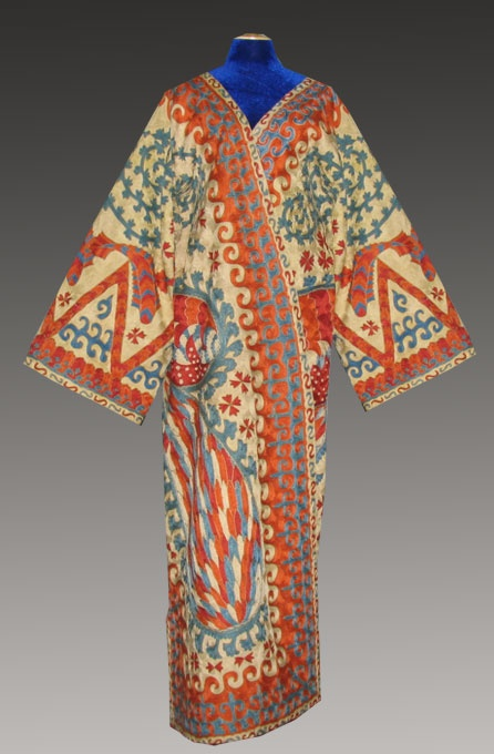 Uzbekistan man coat (khalat), with Suzani embroidery