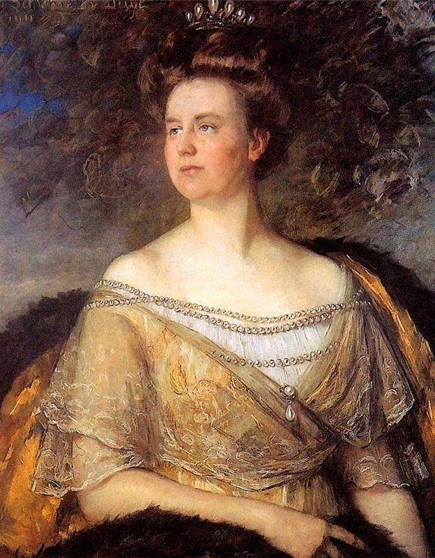 Portret Koningin Wilhelmina in 17e eeuwse stijl erg mooi