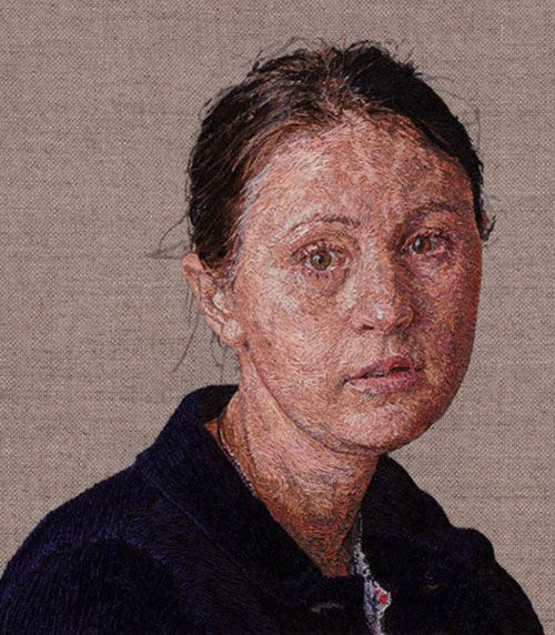 embroidered portraits by artist cayce zavaglia