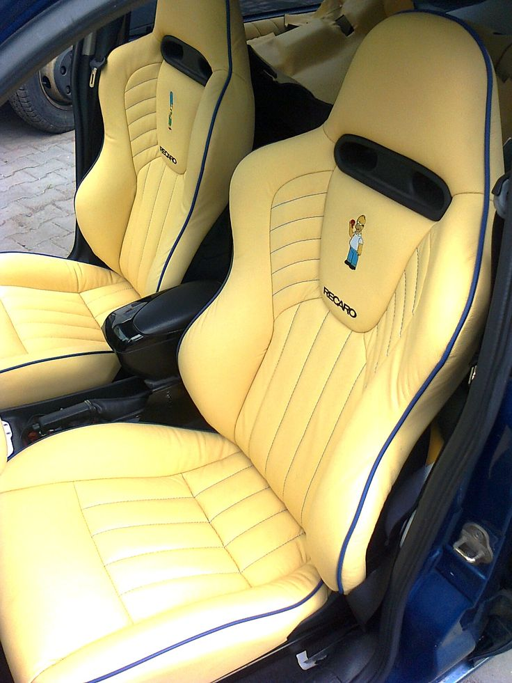 Custom car upholstery in the Simpsons style